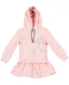 Vestido Niña MICROBE Rosa Estrellas Plateadas