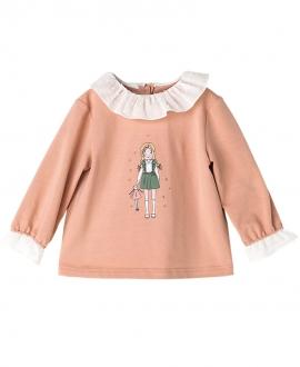 Camiseta Punto Rosa Palo NANOS Bebe Niña Volantes