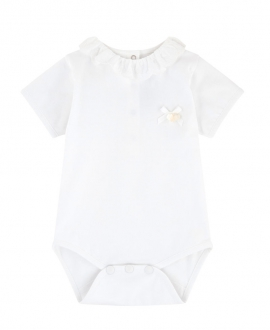 Body Bebe TARTINE ET CHOCOLAT Blanco Cuello Pétalos