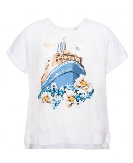 Camiseta Niña MONNALISA Blanca Barco