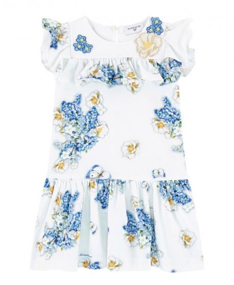 Vestido Niña MONNALISA Blanco Flores y Volantes