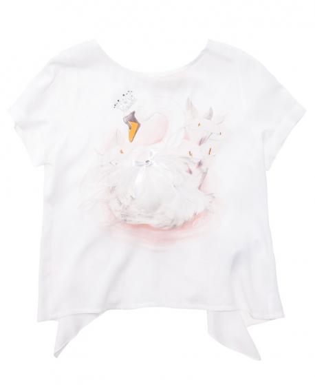 Camiseta Niña MONNALISA Cisne con Strass y Pluma