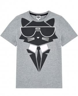 Camiseta Niño KARL LAGERFELD Gris Bad Cat