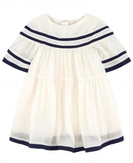 Vestido Bebe Niña CHLOÉ Crudo Crepe