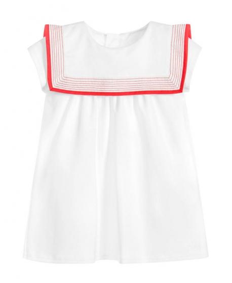 Vestido Bebe Niña CHLOÉ Cuello Marinero Costura Rojo