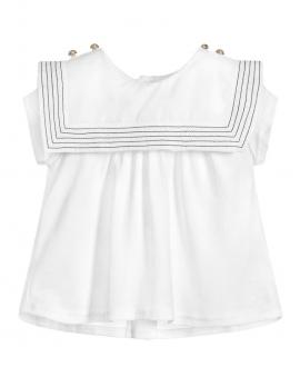 Camiseta Bebe Niña CHLOÉ Cuello Marinero Costura Contrastada