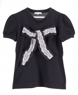 Camiseta Niña CASILDA Y JIMENA Negra Lazo tul
