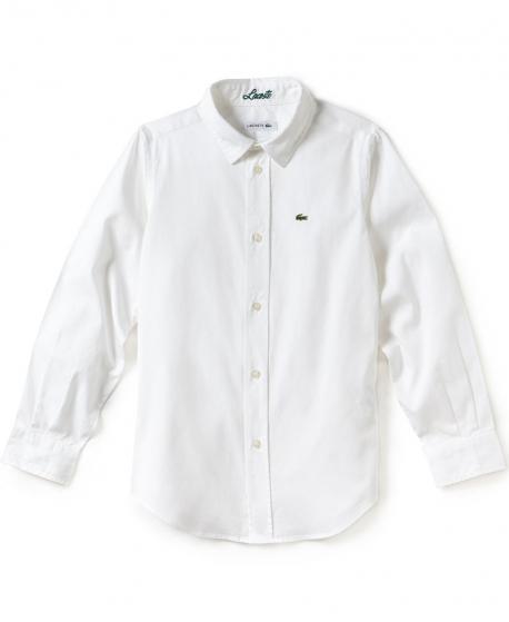 Camisa Niño LACOSTE Oxford Blanca