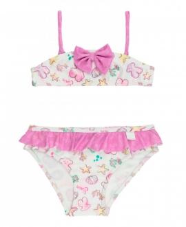 Bikini Niña BABY TOUS Lazo y Volantes rosa