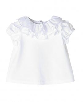 Camiseta Blanca NANOS Bebe Niña Voltantes Cuello