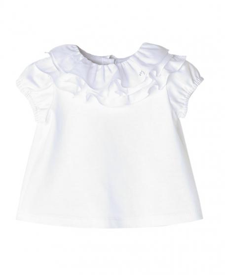 d36057597b301 Camiseta Blanca NANOS Bebe Niña Voltantes Cuello - Ro Infantil