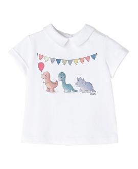 Camiseta Blanco NANOS Bebe Niño Dinosáurios