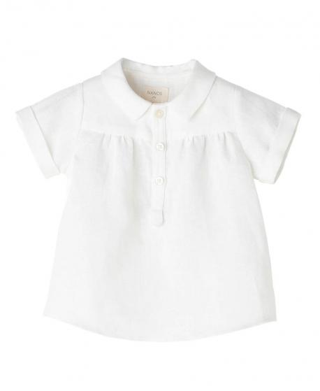 ea3e07597 Camisa Lino Blanco NANOS Bebe Niño Cuello - Ro Infantil