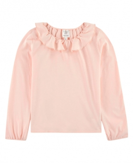 Camiseta Niña CARREMENT BEAU Rosa Cuello Volante