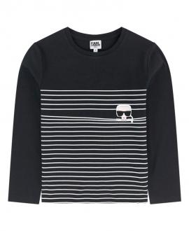 Camiseta Niño KARL LAGERFELD Negra Rayas Blancas