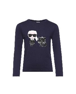 Camiseta Niño KARL LAGERFELD Marino Karl y Coupette