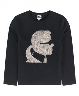 Camiseta Niño KARL LAGERFELD Negra Silueta Recortes