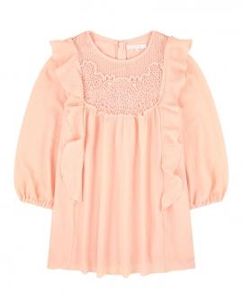Vestido Niña CHLOÉ Collar Pelo Rosa Crepe