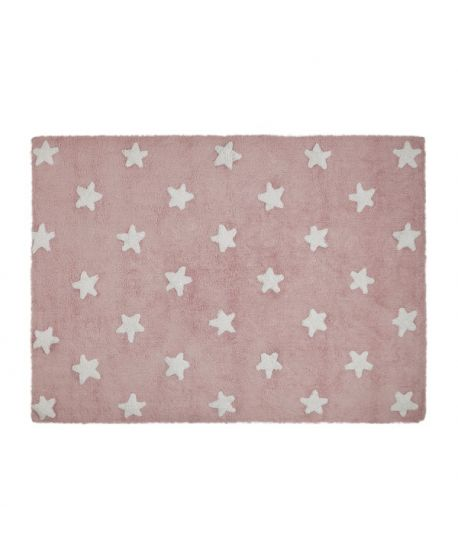 Alfombra Lavable Lorena Canals Rosa Stars White