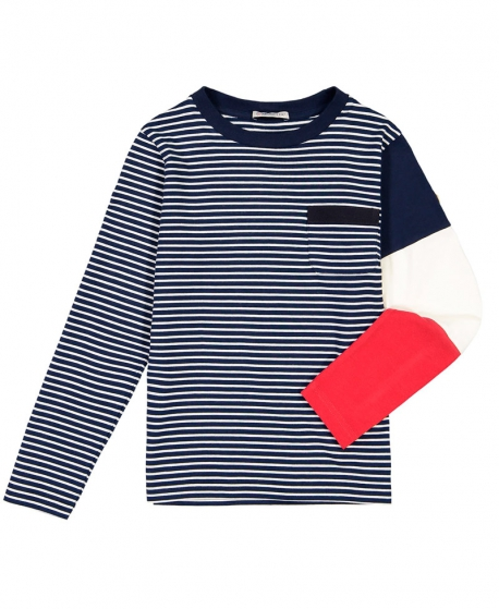 Camiseta Niño MONCLER Rayas Manga Tricolor