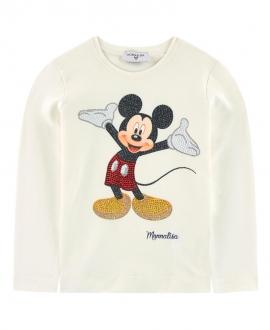 Camiseta Niña MONNALISA Crudo Mickey Mouse Strass
