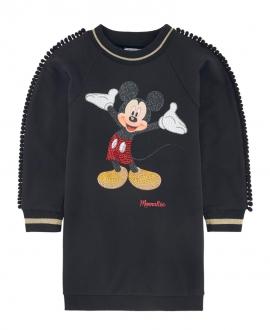 Vestido Niña MONNALISA Negro Mickey Mouse Strass