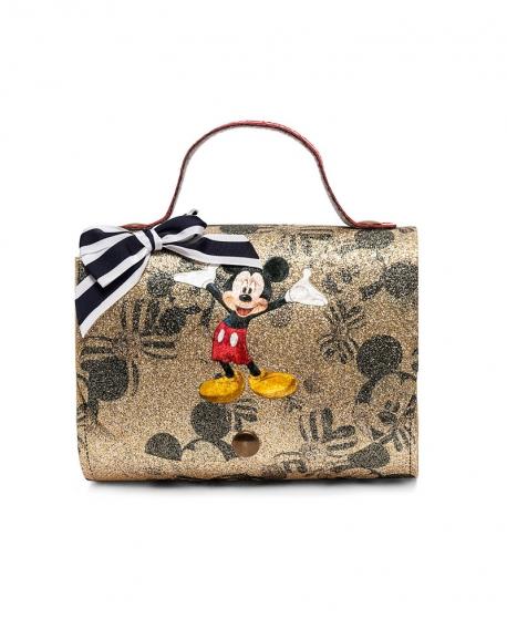 Bolso Niña MONNALISA Mickey Mouse Oro Microglitter