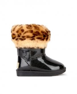 Botas Niña MONNALISA Negra Piel Leopardo