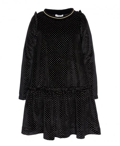 Vestido Niña MONNALISA Negro Lunares Oro