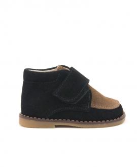 Zapato Bebe Niño ELI Ante Negro Camel