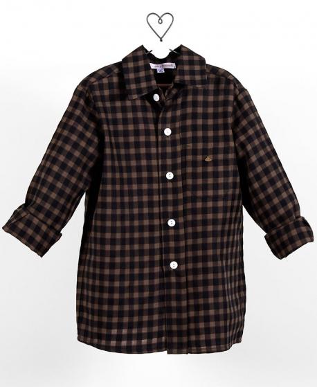 Camisa Niño CASILDA Y JIMENA Sastre Vichy Negro