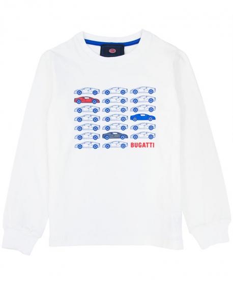 Camiseta Niño BUGATTI Blanca Coches