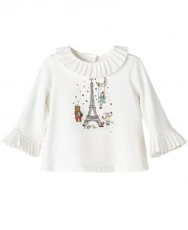 Camisa Punto Crudo Nanos Bebe Niña Torre Eiffel