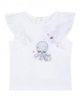 Camiseta Bebe Niña TARTINE ET CHOCOLAT Blanca Pulpo