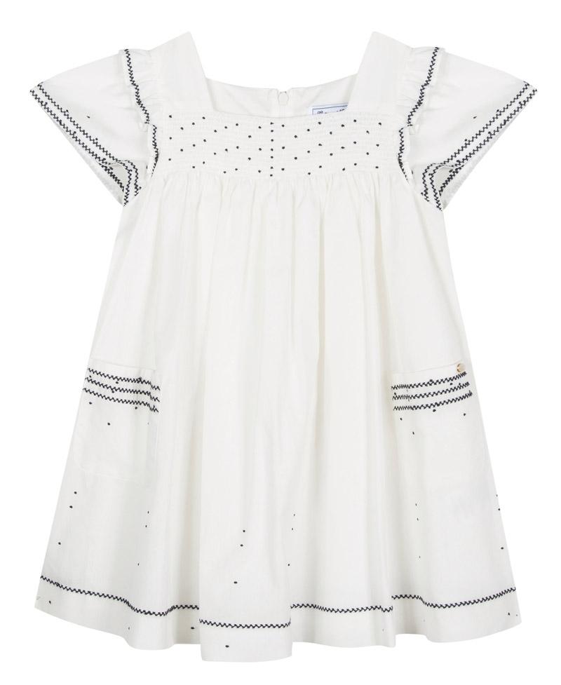 614405ee2 Vestido Niña TARTINE ET CHOCOLAT Blanco Bordado Marino - Ro Infantil