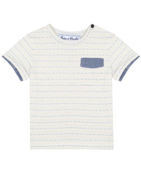 Camiseta Niño TARTINE ET CHOCOLAT Jacquard Rayas Amarillas
