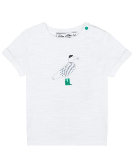 Camiseta Niño TARTINE ET CHOCOLAT Blanca Estampado Gaviota