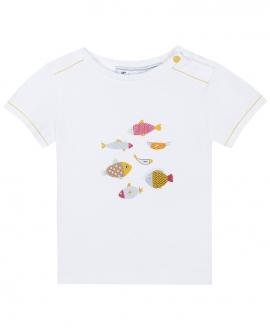 Camiseta Niño TARTINE ET CHOCOLAT Blanca Estampado Peces