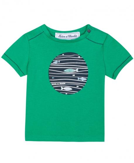 Camiseta Niño TARTINE ET CHOCOLAT Verde Estampado Peces