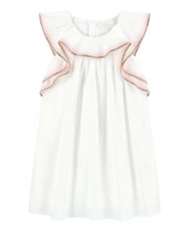 Vestido Niña CHLOÉ Marfil Volantes Lurex