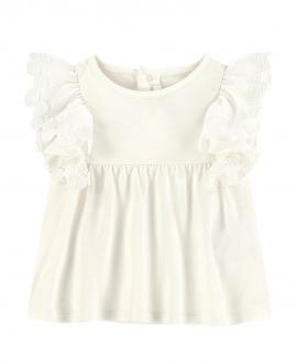 Camiseta Bebé Niña CHLOÉ Marfil Mangas Volantes