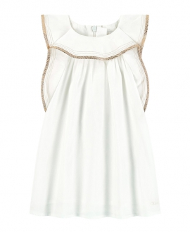 Vestido Bebé Niña CHLOÉ Marfil Volantes Lurex