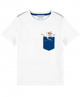 Camiseta Niño LITTLE MARC JACOB Blanca Bolsillo Estampado
