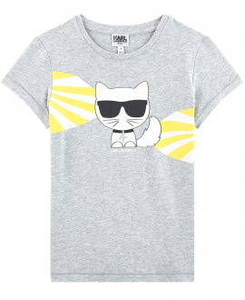 Camiseta Niña KARL LAGERFELD Gris Choupette