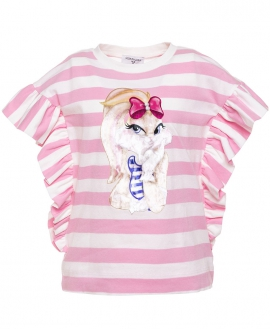 Camiseta Niña MONNALISA Rayas y Volantes Lola Bunny