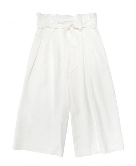 Pantalón Niña MONNALISA Blanco Tiro Alto Lazo
