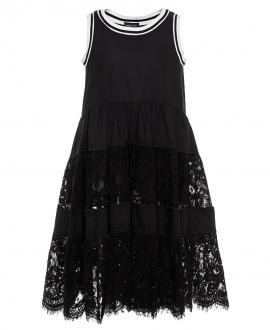 Vestido Niña MONNALISA Negro Falda Encaje