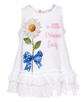 Camiseta Bebé Niña MONNALISA Blanca Margarita