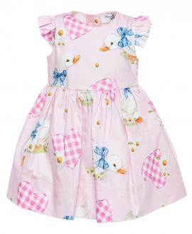 Vestido Bebé Niña MONNALISA Rosa Corazones Vichy
