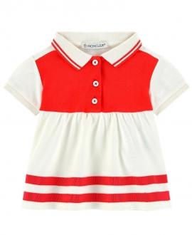 Vestido Bebe Niña MONCLER Pique Crudo y Rojo